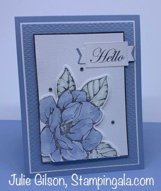 Greeting card created with the Good Morning Magnolia stamp set for Makeover Monday.  #Stampin' Up, #Stampin' Gala, #Handmade Cards, #Heat Embossing, #Alcohol Markers