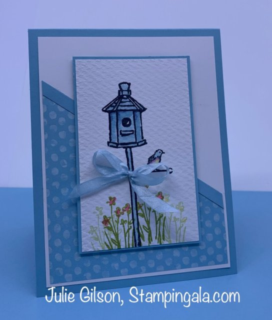 Greeting card created with Stampin' Up's Garden Birdhouses stamp set for Simple Sunday.  #Stampin' Gala, #Julie Gilson, #Handmade cards, #Crafts, #Paper crafts