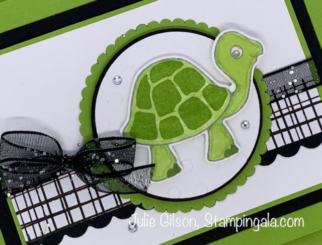 Belated Birthday card created with Stampin' Up's Turtle Friends stamp set for Makeover Monday.  #Stampin' Up, #Stampin' Gala, #Julie Gilson, #Handmade Cards, #Crafts, #Children's Cards