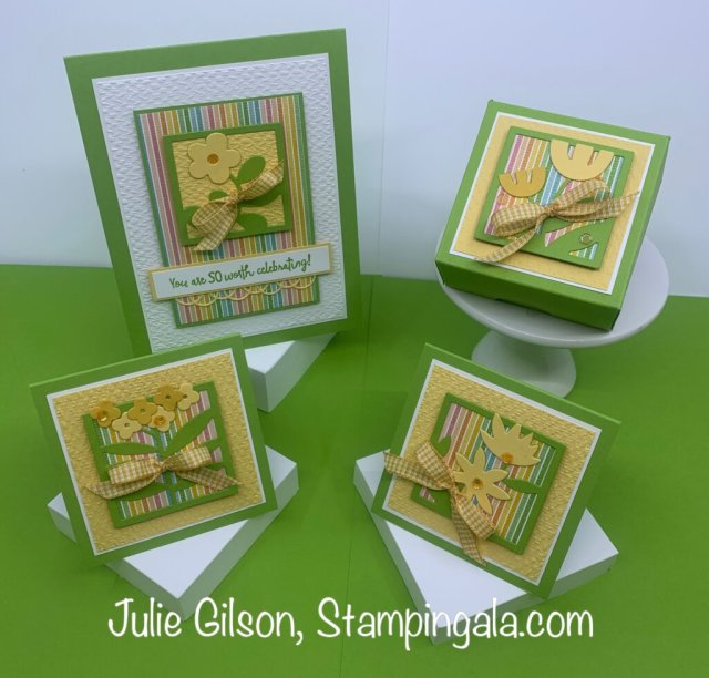 Greeting cards and treat box created with Stampin' Up's All Square Away Bundle. #Stampin' Gala, #Julie Gilson, #Floral Squares Dies, #Handmade cards