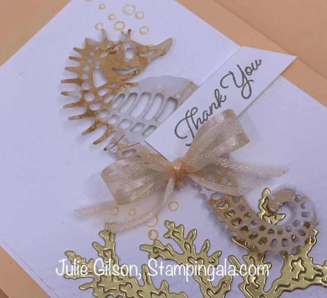 Thank you card created with Stampin' Up's Seascape Bundle. #Stampin' Gala, #Julie Gilson, #Handmade card, #DYI, #Crafts