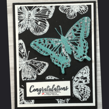 Butterfly Embossed with White