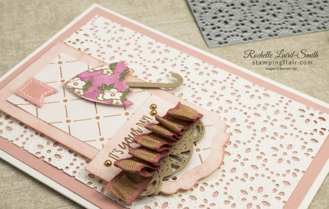 Umbrella punch with Stampin' Up! products and pleated ribbon