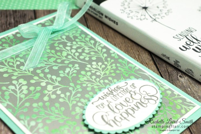 Fun ways with Designer Series Paper, Sponge it, Dandelion Wishes, Feels Like Frost DSP, Fun Ways with DSP, How to colour patternedColour paper using a sponge dauber, Wedding card, Stampin' Up!, SU
