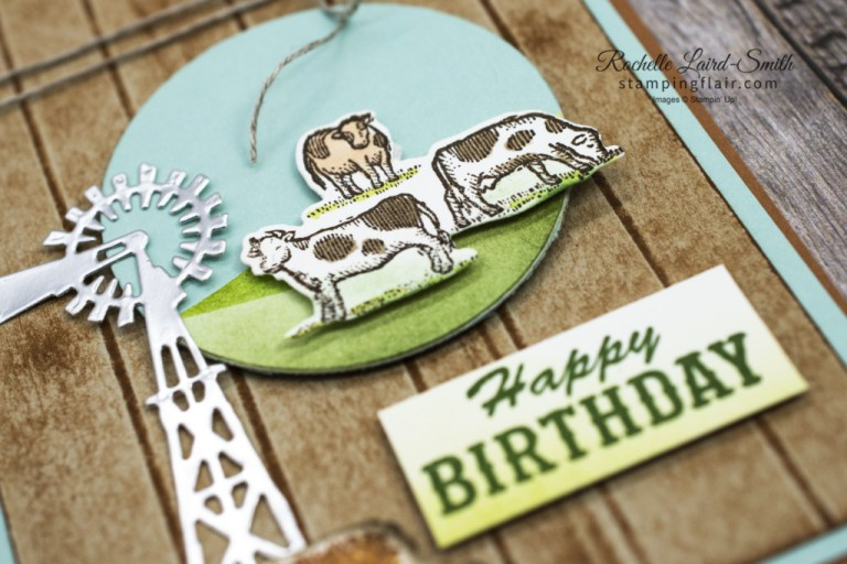 New at SU Blog Hop, March 2021, Ride the Range bundle, Stampin' Up!, Direct to paper technique, Birthday Card, Farm card with cpws, How to create an ombre look and a wood background