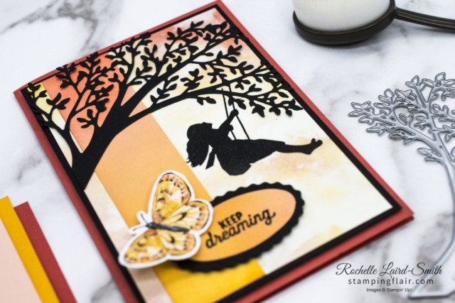 Colour Combo Blog Hop, March 2021, Silhouette Scenes, Sweet Silhouette Dies, Sunset card, Stampin' Up!, SU, Blending Brushes, Butterfly Bijou DSP