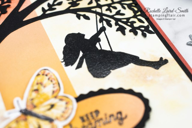 Colour Combo Blog Hop, March 2021, Silhouette Scenes, Sweet Silhouette Dies, Sunset card, Stampin' Up!, SU, Blending Brushes, Butterfly Bijou DSP, Girl on swing
