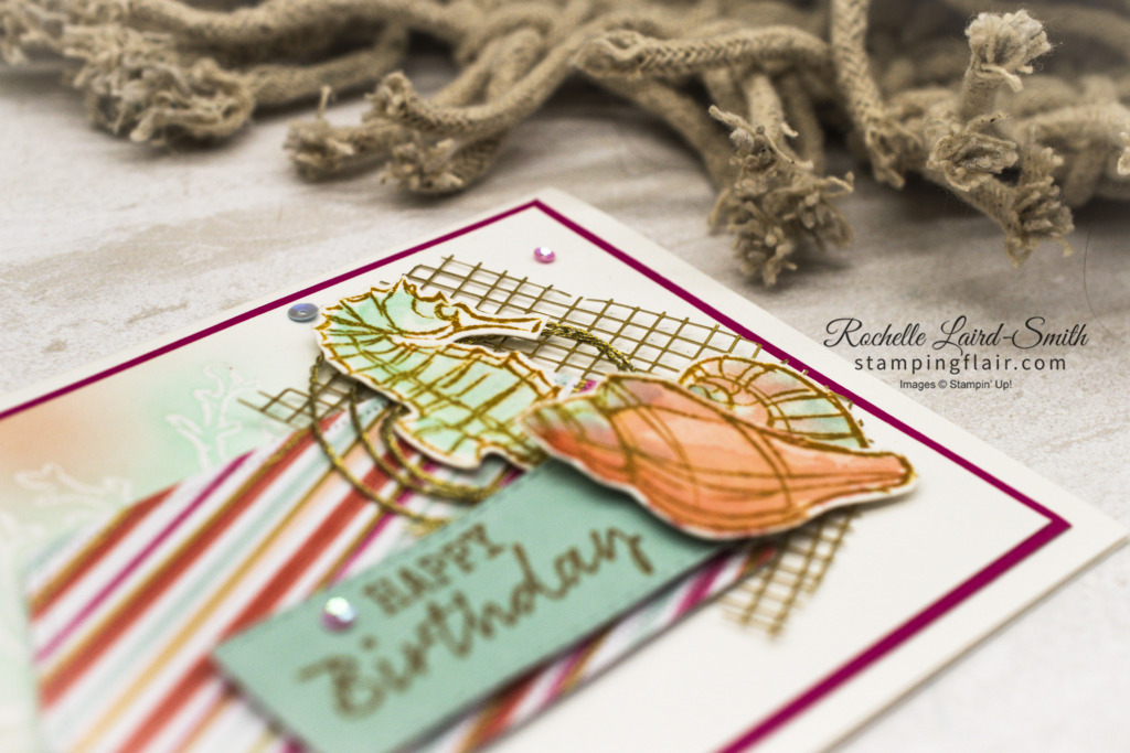 ESAD Blog Hop, Farewell 2020-2021 Annual Catalogue, Seaside Notions, Watercolouring, Forever Gold Lasercut Paper, Seashells, beach, Sweet Little Valentines Cards,Stamping' Up!, SU
