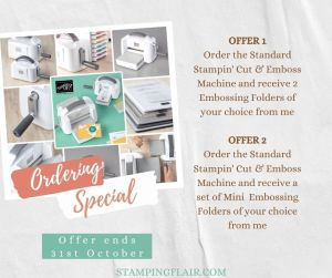 Stampin' Cut & Emboss Machine offer, free embossing folders until 31st October, Stamping Flair