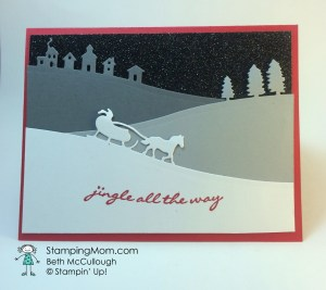 StampinUp Christmas card made with the Sleigh Ride Edgelits Dies, designed by demo Beth McCullough. Please see more card and gift ideas at www.StampingMom.com #StampingMom
