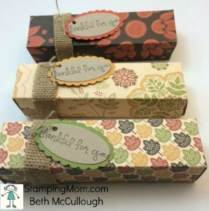StampinUp Thanksgiving Snickers boxes designed by demo Beth McCullough. Please see more card and gift ideas at www.StampingMom.com #StampingMom