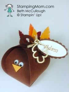 StampinUp Thanksgiving gift made with the Curvy Keepsake Box Thinlits, designed by demo Beth McCullough. Please see more card and gift ideas at www.StampingMom.com #StampingMom