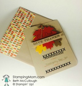 StampinUp Thanksgiving card designed by demo Beth McCullough. Please see more card and gift ideas at www.StampingMom.com #StampingMom