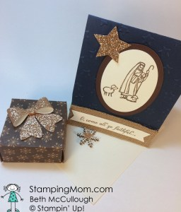 StampinUp Christmas card made with the All Ye Faithful stamp set and coordinating gift box, designed by demo Beth McCullough. Please see more card and gift ideas at www.StampingMom.com #StampingMom