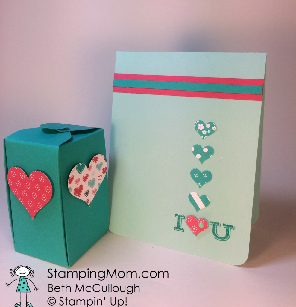 StampinUp Valentine boxes made with the Gift Box Punch Board and matching card, designed by demo Beth McCullough.  Please see more card and gift ideas at www.StampingMom.com #StampingMom.com