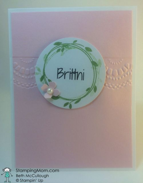 StampinUp wedding placecards made with the Your Perfect Day stamp set designed by demo Beth McCullough.  Please see more card and gift ideas at www.StampingMom.com #StampingMom