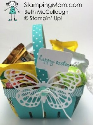 Stampin Up Easter Berry Basket designed by demo Beth McCullough.  Please see more card and gift ideas at www.StampingMom.com