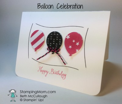 Stampin Up birthday card made with the Balloon Celebration stamp set. Please see more card and gift ideas at www.StampingMom.com #StampingMom