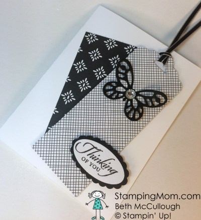 StampinUp Thinking of You card made with the Bold Butterfly Framelits, designed by demo Beth McCullough.  Please see more card and gift ideas at www.StampingMom.com #StampingMom