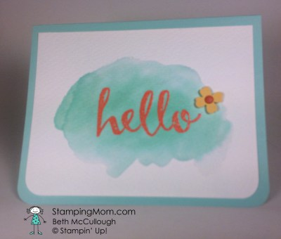 StampinUp card made with the Hello stamp set from the 2016 SAB catalog, designed by demo Beth McCullough. Please see more card and gift ideas at www.StampingMom.com #StampingMom