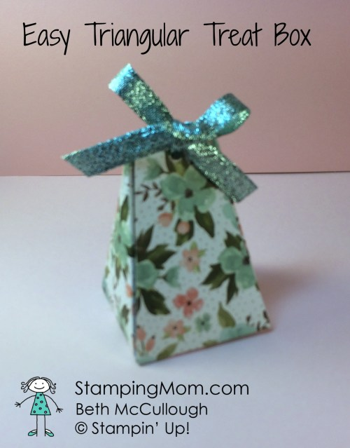 Stampinup easy triangular treat box made by demo Beth McCullough. Please see more card and gift ideas at www.StampingMom.com #StampingMom