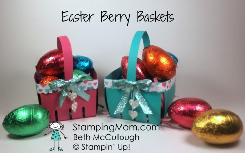 StampinUp Easter baskets made with the Berry Basket die by demo Beth McCullough.  Please see more card and gift ideas at www.StampingMom.com #StampingMom