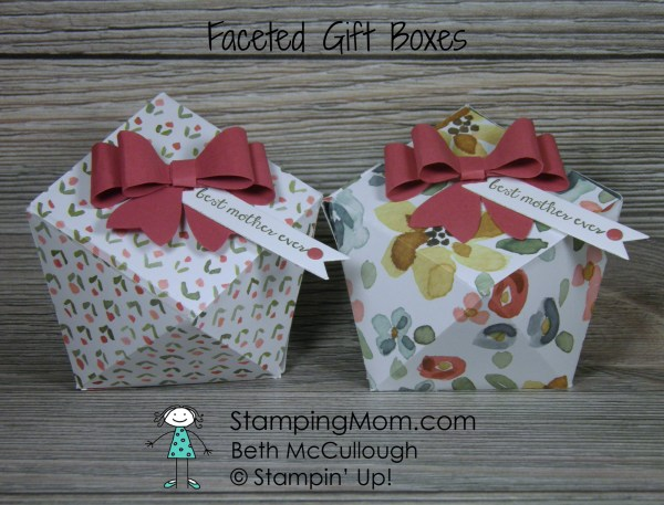 Stampin' Up Mother's Day Faceted Gift Box made with the English Garden Designer Series Paper , designed by demo Beth McCullough. See more card and gift ideas at www.StampingMom.com #StampingMom