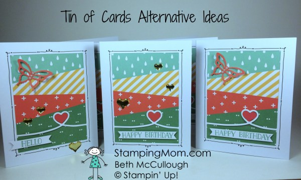 StampinUp Tin of Cards alternative ideas made by demo Beth McCullough. Please see more card and gift ideas at www.StampingMom.com #StampingMom