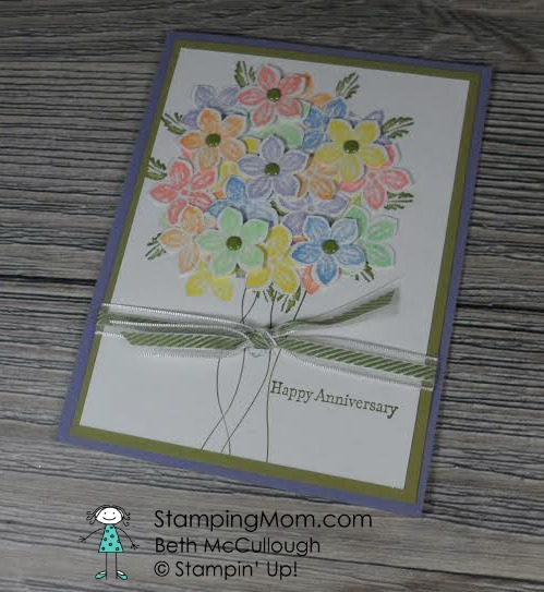 StampinUp Petite Petals Anniversary card made by Sharon Olson. Please see more card and gift ideas at www.StampingMom.com #StampingMom