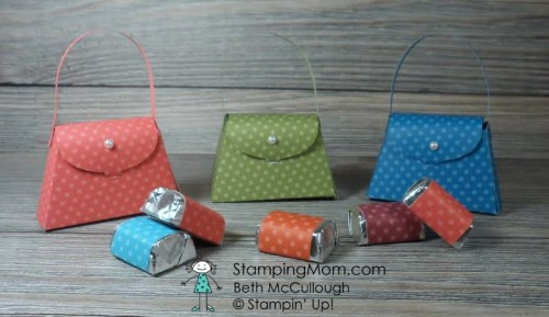 StampinUp Petite Purses filled with Hershey's Nuggets created by demo Beth McCullough. Please see more card and gift ideas at www.StampingMom.com #StampingMom