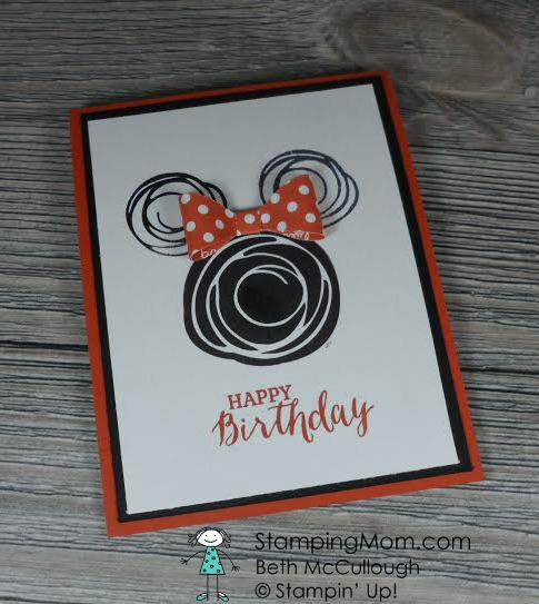 StampinUp Minnie Mouse birthday card made with the Swirly Bird stamp set, designed my demo Beth McCullough. Please see more card and gift ideas at www.StampingMom.com #StampingMom