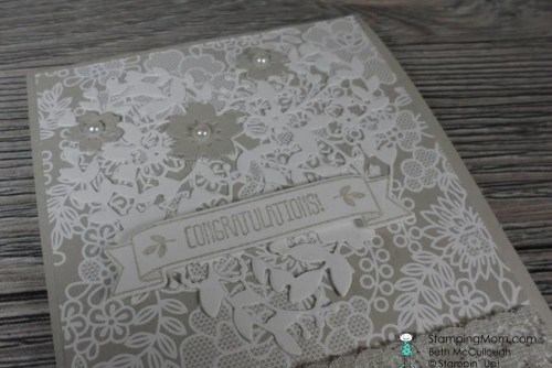 StampinUp wedding card made with the Bloomin' Heart Thinlits designed by demo Beth McCullough. Please see more card and gift ideas at www.StampingMom.com #StampingMom