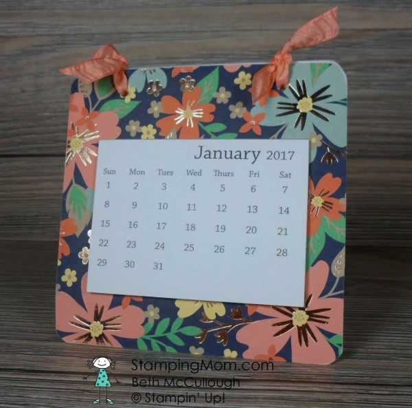 StampinUp Coaster Calendar plus Post it Notes made with the Affectionately Yours Specialty Designer Series Paper designed by demo Beth McCullough. Please see more card and gift ideas at www.StampingMom.com #StampingMom