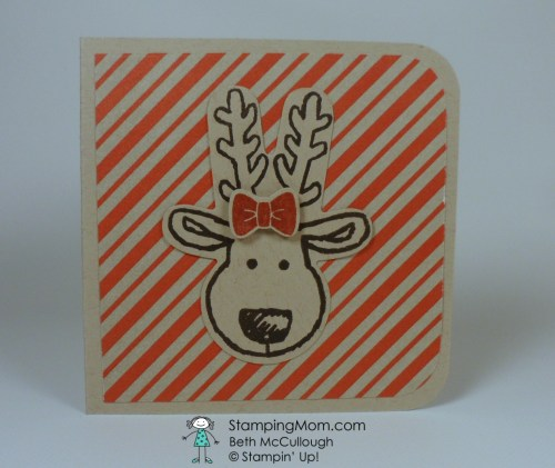 StampinUp 3x3 card made with Cookie-Cutter Christmas, designed by demo Beth McCullough. Please see more card and gift ideas at www.StampingMom.com #StampingMom