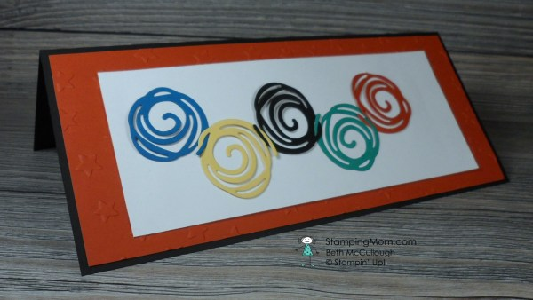 StampinUp Swirly Scribbles Olympic rings card designed by demo Beth McCullough.  Please see more card and gift ideas at www.StampingMom.com #StampingMom