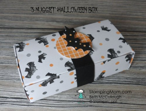 3 Nugget Box Halloween box designed by demo Beth McCullough. Please see more card and gift ideas at www.StampingMom.com #StampingMom