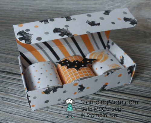 Stampin Up 3 Nugget Halloween Box designed by demo Beth McCullough. Please see more card and gift ideas at www.StampingMom.com #StampingMom