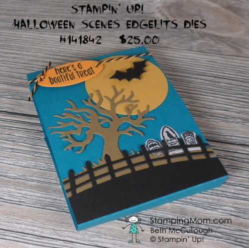 Stampin Up Halloween treat holder made with the Halloween Scenes Edgelits dies and Spooky Fun stamp set designed by demo Beth McCullough. Please see more card and gift ideas at www.StampingMom.com #StampingMom #cute&simple4u