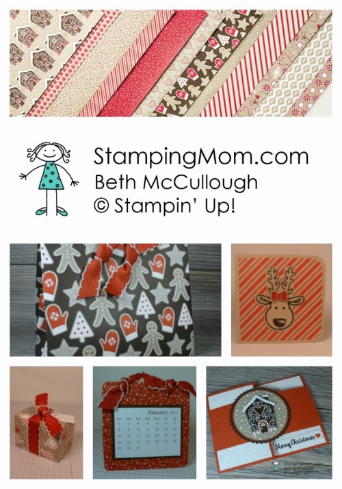 Stampin Up Candy Cane Lane DSP. Please see card and gift ideas designed by demo Beth McCullough at www.StampingMom.com #Stampingmom