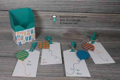 Stampin Up gift tags with box made with the Party Animal Suite from the 2017 Occasions catalog, designed by demo Beth McCullough. Please see more card and gift ideas at www.StampingMom.com #StampingMom #cute&simple4u