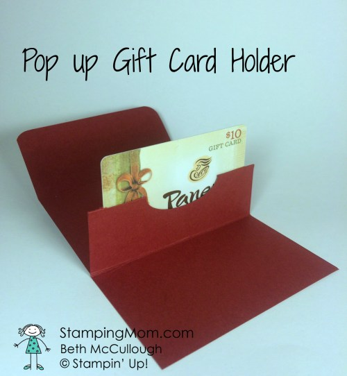 Stampin Up Pop Up Gift Card Holder designed by demo Beth McCullough. Please see more card and gift ideas at www.StampingMom.com #StampingMom #cute&simple4u