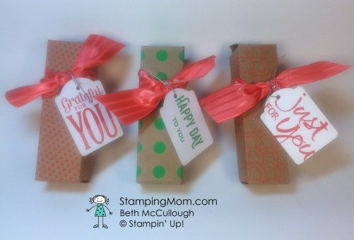 Stampin Up Snickers Boxes designed by demo Beth McCullough. Please see more card and gift ideas at www.StampingMom.com #StampingMom #cute&simple4u