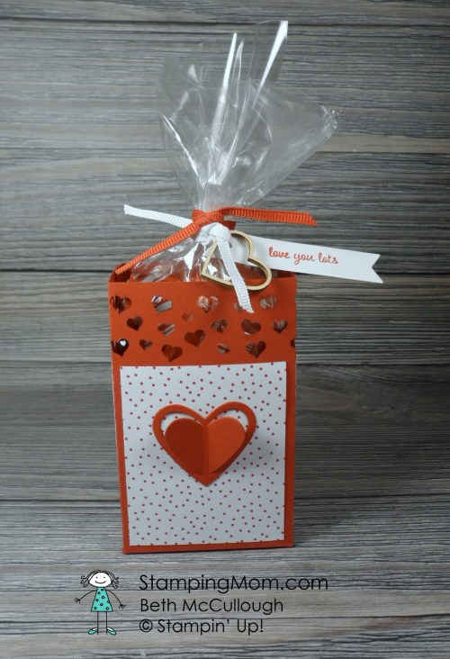 Stampin Up Valentine Box made with the Love Notes Framelits Dies and the Confetti Hearts Border Punch designed by demo Beth McCullough. Please see more card and gift ideas at www.StampingMom.com #StampingMom #cute&simple4u