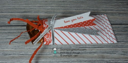 Stampin Up Valentine treat made with the Sending Love Designer Series Paper Stack designed by demo Beth McCullough. Please see more card and gift ideas at www.StampingMom.com #StampingMom #cute&simple4u