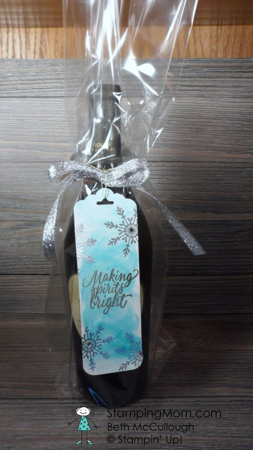 Stampin Up wine tag made with the Tin of Tags stamp set, designed by demo Beth McCullough. Please see more card and gift ideas at www.StampingMom.com #StampingMom #cute&simple4u