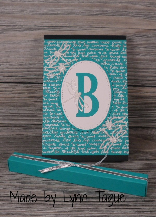 Stampin Up covered notebook made with the Large Letters Framelits and the Detailed Dragonfly Thinlits Dies designed by demo Lynn Tague. Please see her blog beyondbeachesandblessings.com