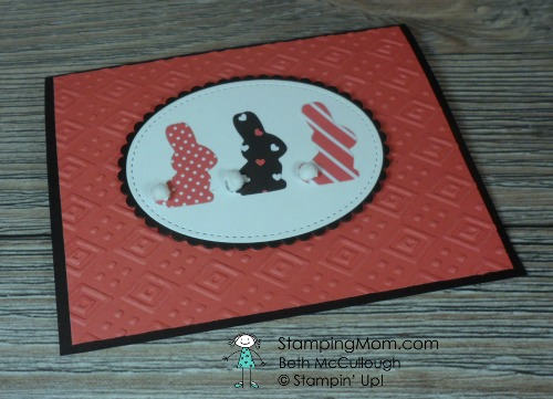 Kate Spade style Easter Bunny card made with Stampin' Up Basket Builder Framelits Dies designed by demo Beth McCullough. Please see more card and gift ideas at www.StampingMom #StampingMom #cute&simple4u