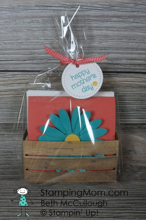 Stampin Up 3x3 card set made with the new Daisy punch and Wood Crate Framelits designed by demo Beth McCullough. Please see more card and gift ideas at www.StampingMom.com #StampingMom #cute&simple4u