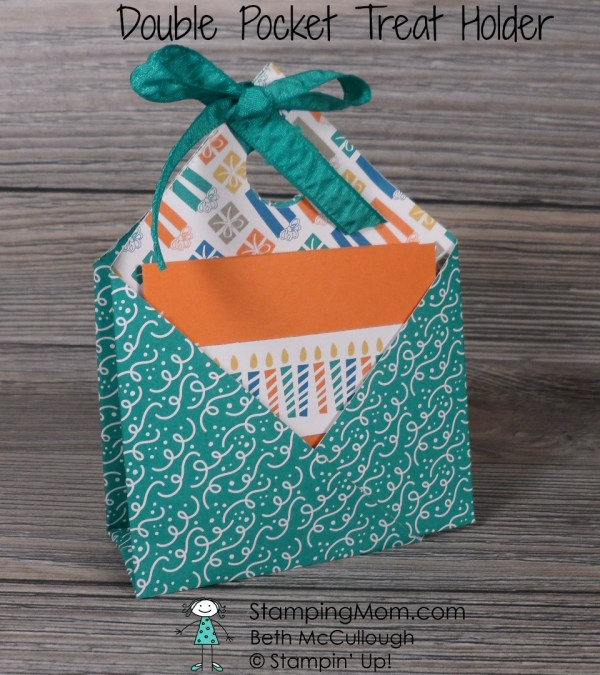 Stampin Up Double Pocket Treat Holder made with the Party Animal Suite from the 2017 Occasions catalog, designed by demo Beth McCullough. Please see more card and gift ideas at www.StampingMom.com #StampingMom #cute&simple4u