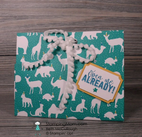 Stampin Up Gift Bag made with the Party Animal Suite from the 2017 Occasions catalog, designed by demo Beth McCullough. Please see more card and gift ideas at www.StampingMom.com #StampingMom #cute&simple4u